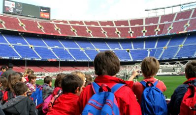 Students at the Nou Camp Stadium