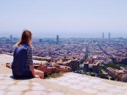 Girl looking at Barcelona
