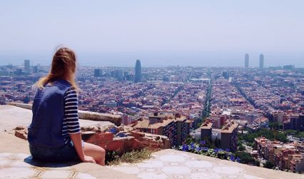 Girl looking at Barcelona