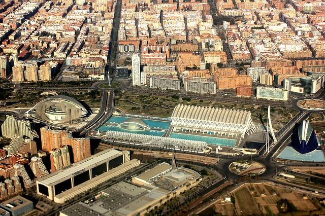 aerial-view of valencia city or arts and sciences