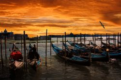 Boats in venice by sunset