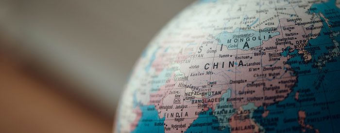 China as positioned on a globe
