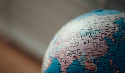 Image of China on a globe