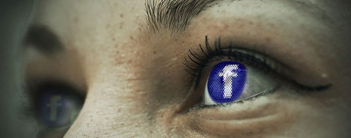 Close up photo of FB icon in eyes