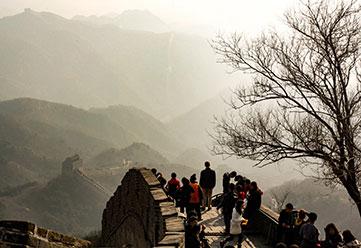 Group visiting the Great Wall of China