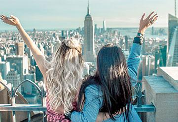 Students taking in the view over Manhattan