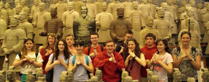 Students visiting the Terracotta Army, Xian