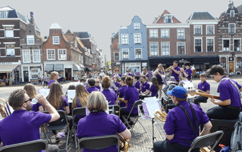 Music group performing in Delft