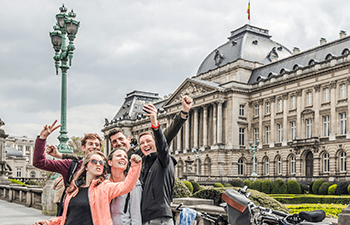 Students taking selfie in Brussels
