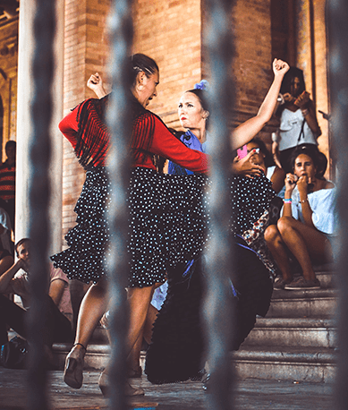 Students watching flamenco show