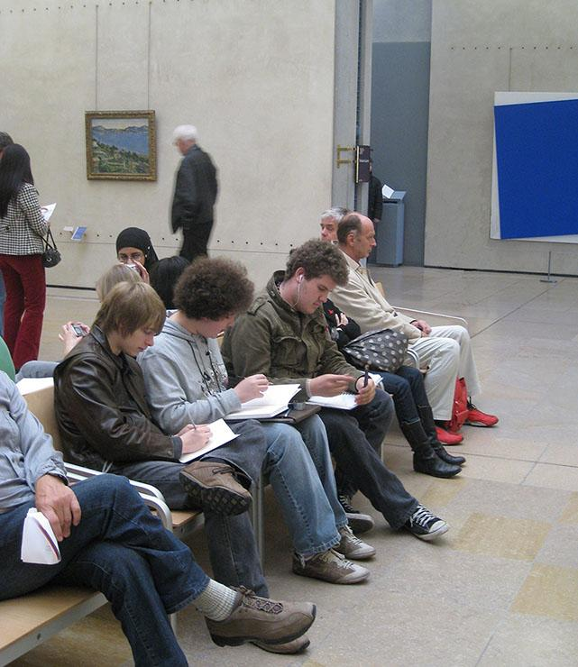 students sketching at the Musee d'Orsay