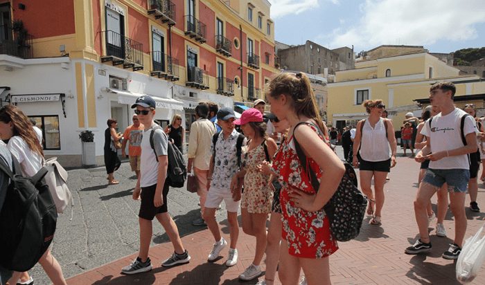 Students walking through Sorrento