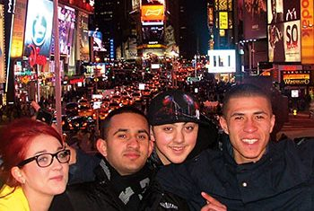 Students in New York's Times Square