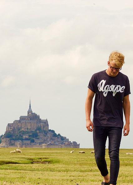 Student with Mont St Michel in the background