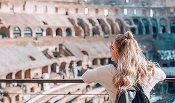Student visiting the Colosseum, Rome