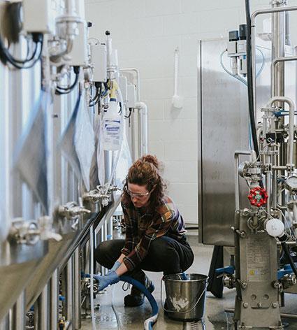Behind the scenes, brewery