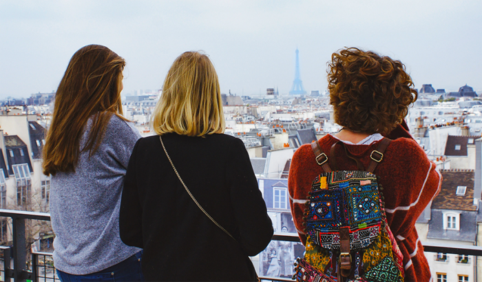 Students looking out to the Eiffel Tower
